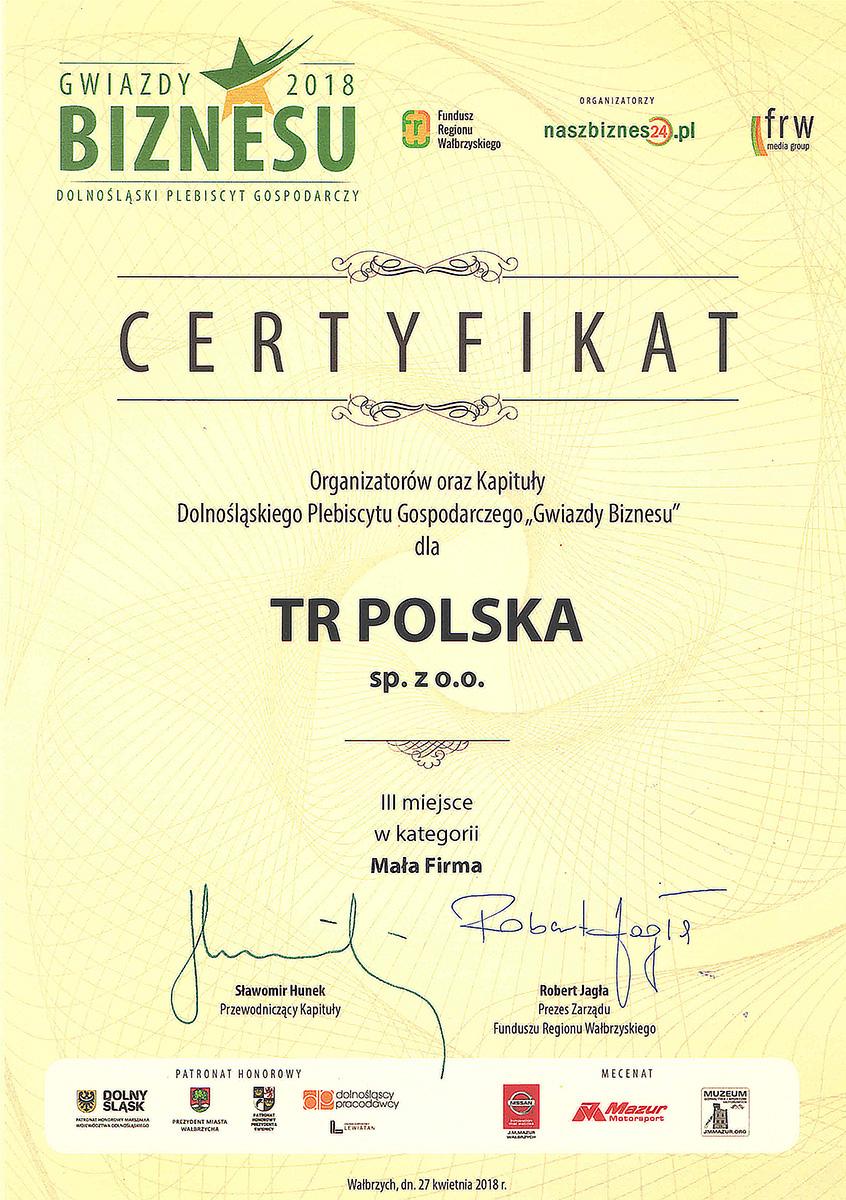 CERTYFIKAT GWIAZDA BIZNESU 2018 dla TR Polska