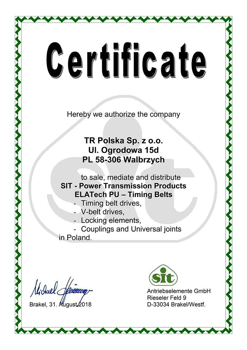 Certyfikat dla TR Polska dystrybutora pasów zębatych